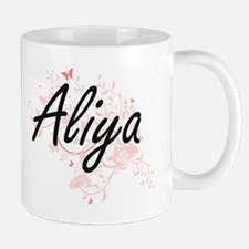Aliya Artistic Name Design with Butterflies Mugs