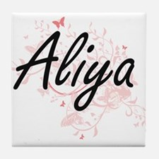 Aliya Artistic Name Design with Butte Tile Coaster