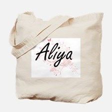 Aliya Artistic Name Design with Butterfli Tote Bag
