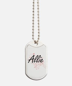 Allie Artistic Name Design with Butterfli Dog Tags