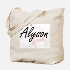 Alyson Artistic Name Design with Butterfl Tote Bag