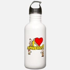 I Heart Adverbs Water Bottle