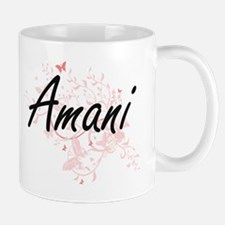 Amani Artistic Name Design with Butterflies Mugs
