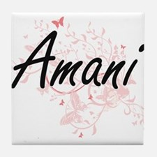 Amani Artistic Name Design with Butte Tile Coaster