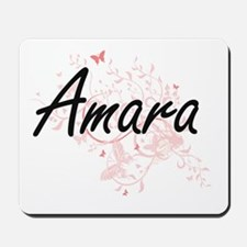 Amara Artistic Name Design with Butterfl Mousepad