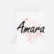 Amara Artistic Name Design with But Greeting Cards
