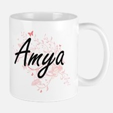 Amya Artistic Name Design with Butterflies Mugs
