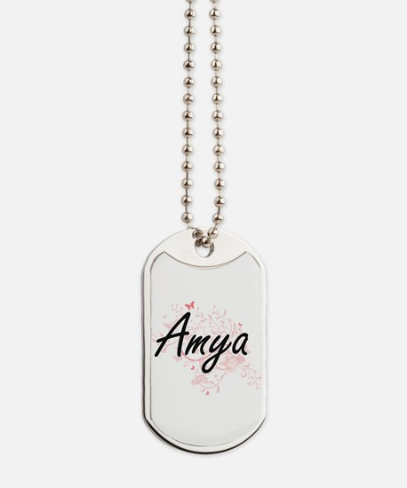 Amya Artistic Name Design with Butterflie Dog Tags
