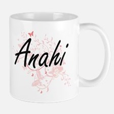 Anahi Artistic Name Design with Butterflies Mugs