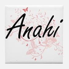 Anahi Artistic Name Design with Butte Tile Coaster
