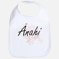 Anahi Artistic Name Design with Butterflies Bib
