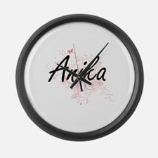 Anika Artistic Name Design with B Large Wall Clock