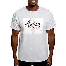 Aniya Artistic Name Design with Butterflie T-Shirt