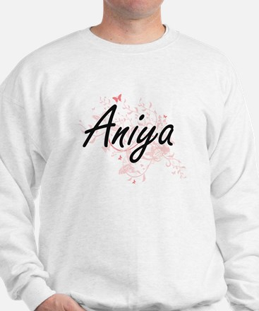 Aniya Artistic Name Design with Butterf Sweater