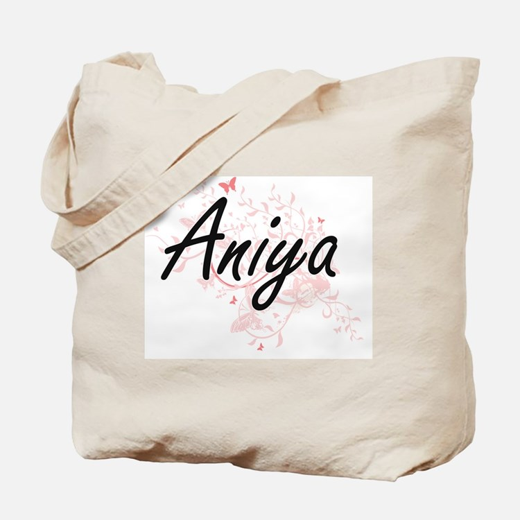 Aniya Artistic Name Design with Butterfli Tote Bag