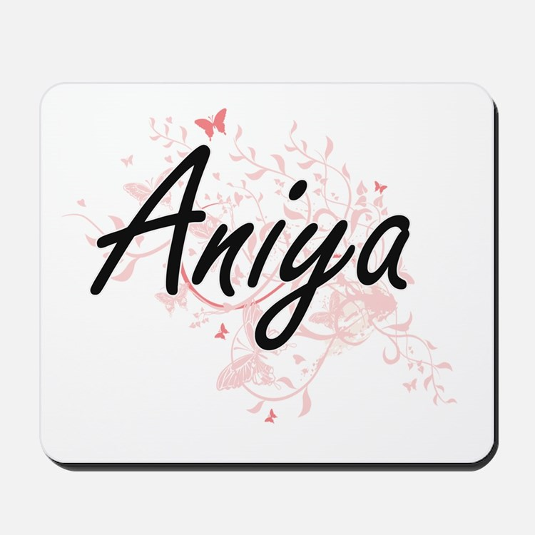 Aniya Artistic Name Design with Butterfl Mousepad