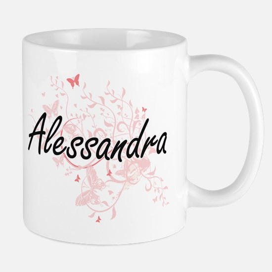 Alessandra Artistic Name Design with Butterfl Mugs