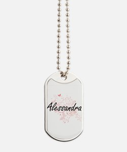 Alessandra Artistic Name Design with Butt Dog Tags