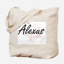 Alexus Artistic Name Design with Butterfl Tote Bag