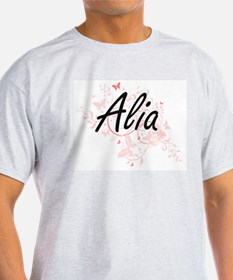 Alia Artistic Name Design with Butterflies T-Shirt