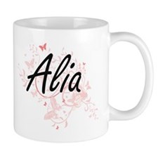 Alia Artistic Name Design with Butterflies Mugs
