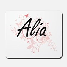 Alia Artistic Name Design with Butterfli Mousepad
