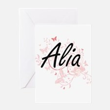 Alia Artistic Name Design with Butt Greeting Cards