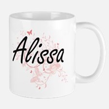 Alissa Artistic Name Design with Butterflies Mugs