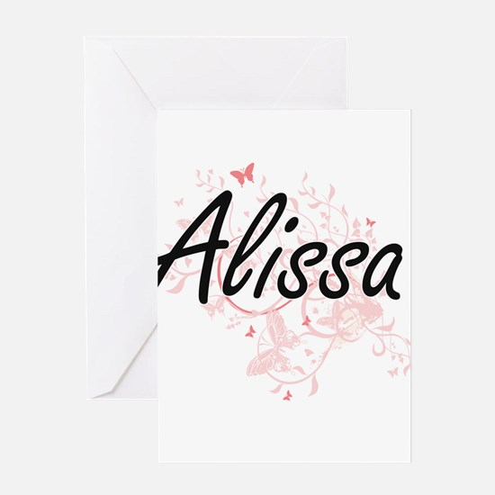 Alissa Artistic Name Design with Bu Greeting Cards