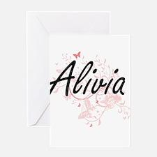 Alivia Artistic Name Design with Bu Greeting Cards