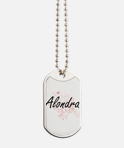 Alondra Artistic Name Design with Butterf Dog Tags