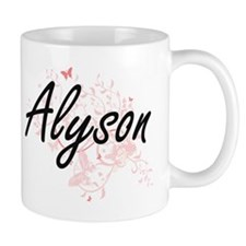 Alyson Artistic Name Design with Butterflies Mugs