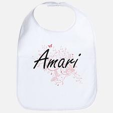 Amari Artistic Name Design with Butterflies Bib