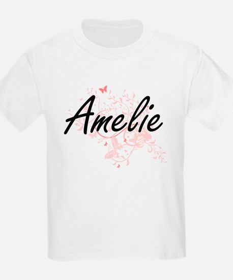 Amelie Artistic Name Design with Butterfli T-Shirt