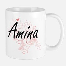 Amina Artistic Name Design with Butterflies Mugs