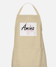 Amina Artistic Name Design with Butterflies Apron