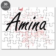 Amina Artistic Name Design with Butterflies Puzzle