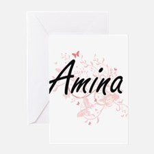 Amina Artistic Name Design with But Greeting Cards