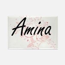 Amina Artistic Name Design with Butterflie Magnets