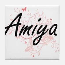 Amiya Artistic Name Design with Butte Tile Coaster