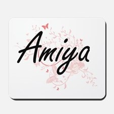Amiya Artistic Name Design with Butterfl Mousepad