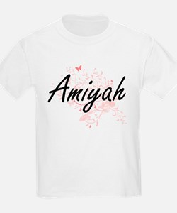 Amiyah Artistic Name Design with Butterfli T-Shirt