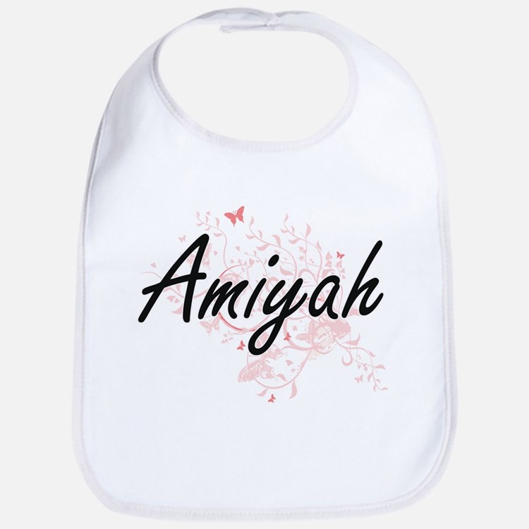 Amiyah Artistic Name Design with Butterflies Bib