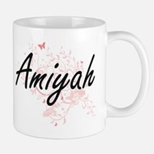 Amiyah Artistic Name Design with Butterflies Mugs