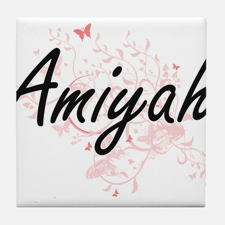 Amiyah Artistic Name Design with Butt Tile Coaster