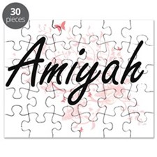Amiyah Artistic Name Design with Butterflie Puzzle