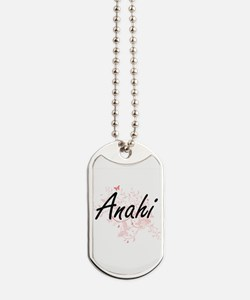 Anahi Artistic Name Design with Butterfli Dog Tags