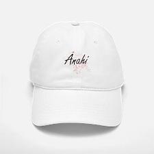 Anahi Artistic Name Design with Butterflies Baseball Baseball Cap