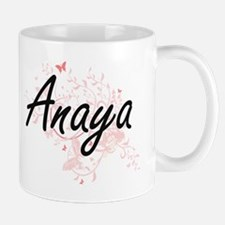 Anaya Artistic Name Design with Butterflies Mugs