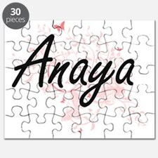 Anaya Artistic Name Design with Butterflies Puzzle